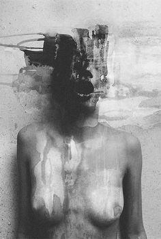 Januz Miralles - mixing black and white photos with paint. Would be cool to try black and white photos with a dash of color paint