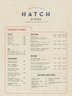 art of the menu hatch sons irish kitchen