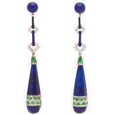 Art Deco Enamel Lapis Diamond Platinum Earrings | From a unique collection of vintage dangle earrings at https://www.1stdibs.com/jewelry/earrings/dangle-earrings/