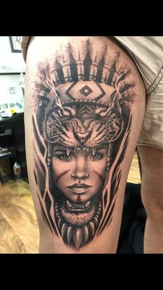 Native American piece on thi… Iain Mclellan Reverence tattoo Melbourne Australia. Native American piece on thigh Skull Tattoos, Leg Tattoos, Body Art Tattoos, Tattoos For Guys, African Warrior Tattoos, African Tattoo, Native American Tattoos, Native Tattoos, Aztec Tattoo Designs
