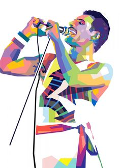 Freddie Mercury poster by from collection. By buying 1 Displate, you plant 1 tree. Pop Art Artists, New Artists, Pop Art Posters, Poster Prints, Illustration Pop Art, Pop Art Portraits, Poster Making, Freddie Mercury, Cool Artwork