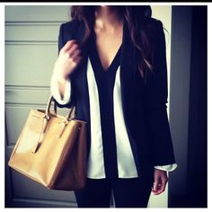 sleek blazer, contrast piped top with a clean line down the center of it
