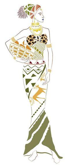 Litoarte                                                       … Afrique Art, African Art Paintings, Elements Of Art, African Women, Fabric Painting, Stencil, Black Art, Female Art, Art Pictures