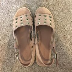 Jcrew Suede Blush Pink Sandals with Gold Hardware Brand new never worn J. Crew Shoes Sandals
