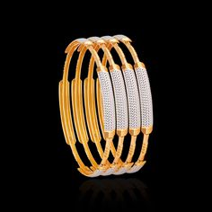 These gold bangles collection have wonderful patterns engraved on them using the laser cut technology. Buy these laser cut CNC gold bangles from Zar Jewels now! Hand Jewelry, Womens Jewelry Rings, Metal Jewelry, Jewelry Design Earrings, Jewellery Bracelets, Diamond Bracelets, Wedding Earrings Studs, Wedding Jewelry, Gold Money