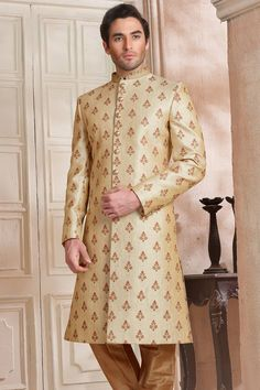 Cream Raw Silk Resham Embroidered Wedding Sherwani-IW1013 Men Wedding Attire Guest, Wedding Dress Men, Pakistani Wedding Dresses, Wedding Suits, Wedding Sherwani, Menswear, Silk, Cream, How To Wear