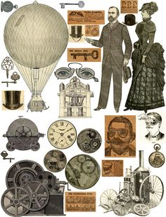 Safari Steampunk Anyone? Steampunk is a rapidly growing subculture of science fiction and fashion. Free Collage, Digital Collage, Collage Art, Digital Art, Journal Vintage, Collage Vintage, Steampunk Crafts, Steampunk Images, Motif Vintage