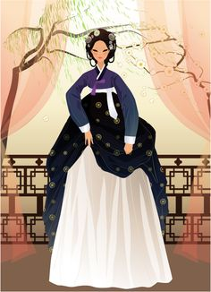 Hanbok Illustration Korean Hanbok, Korean Dress, Korean Outfits, Korean Illustration, People Illustration, Illustration Fashion, Illustration Art, Korean Traditional, Traditional Dresses