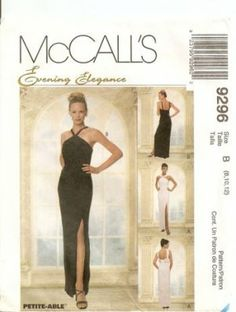 McCalls sewing pattern 9296 straight evening dress S8 10 (Vintage Patterns) Like Jackie's prom gown.