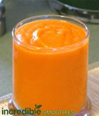 Orange,Ginger, Carrot Smoothie Recipe   2 oranges, peeled  2 large, organic carrots, chopped  ½ to 1 inch ginger to taste  1-2 splashes of water  Ice to chill if desired  High speed blend!