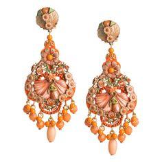 Hand Painted Flamenco Style Pendant Earrings by DUBLOS #jjexplores