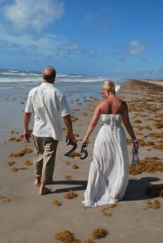 25th anniversary beach wedding vow renewal