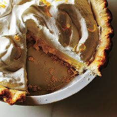 This lightened version of classic chocolate cream pie features a smooth, rich chocolate filling and a creamy topping, but has only 8 gram...
