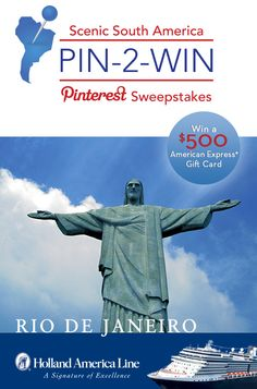 If Rio De Janeiro is your South American highlight, enter the @Holland America Line Scenic South America #Sweepstakes for your chance to #win a 500.00 American Express gift card: https://www.facebook.com/HALCruises/app_363845683737502?ref=ts #Pin2Win #SouthAmerica