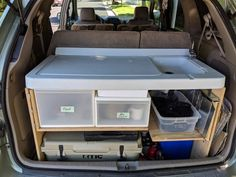 Camping Hacks With Kids Discover Toyota Sienna Campervan Conversion Plans with Kitchen and Bed! Minivan Camper Conversion, Suv Camper, Camper Beds, Diy Camping, Camping Hacks, Camping Ideas, Tent Camping, Camping Storage, Camping Checklist