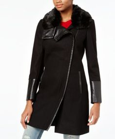 RACHEL Rachel Roy Mixed-Media Asymmetrical Walker Coat, Only at Macy's | macys.com