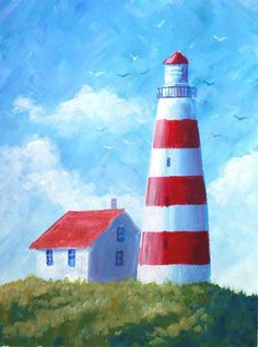 Einen Leuchtturm malen - Malen mit Acrylfarbe