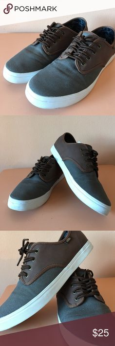 Vans classic sneakers skateboard shoes men's sz 9 Vans classic sneakers. Men's size 9 / women's size 10.5. In great condition worn like 2 times. Brown leather & grey canvas material. Awesome shoes. Vans Shoes Sneakers