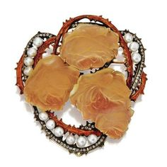 René Lalique pearl, enamel, diamond. and molded glass roses brooch, circa 1900.