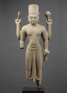 Standing four-armed Vishnu, Pre-Angkor period, ca. second half of 7th century. Vietnam (Mekong Delta area). Stone. H. 41 in. (104.1 cm). http://www.metmuseum.org/toah/works-of-art/1992.53