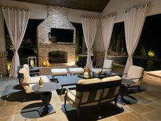 Deck Fireplace, Outdoor Fireplace Designs, Outdoor Propane Fireplace, Modern Outdoor Fireplace, Outdoor Kitchen Design, Outdoor Kitchen Patio, Rustic Patio, Outdoor Pavillion, Whirlpool Deck