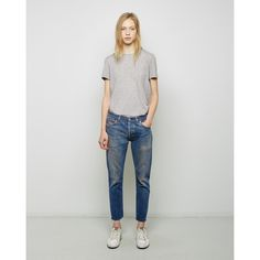 RE/DONE Relaxed Crop Jean ($260) ❤ liked on Polyvore featuring jeans, ripped blue jeans, high waisted destroyed jeans, distressed cropped jeans, high waisted jeans and vintage high waisted jeans
