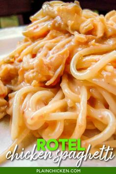 Rotel Chicken Spaghetti - chicken, cream of chicken soup, Rotel, Velveeta, spaghetti - I can not get enough of this stuff! We make it at least once a month! It also makes a great freezer meal. #rotel #mexican #spaghetti #velveeta #freezermeal