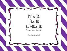 Mix It, Fix It, Write It - Sight Word Activity