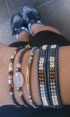 Jewelry Making Bracelets Denim and gold colors for bracelets Beaded Wrap Bracelets, Bracelet Set, Handmade Bracelets, Bracelet Making, Jewelry Bracelets, Handmade Jewelry, Jewelry Making, Personalized Jewelry, Leather Jewelry