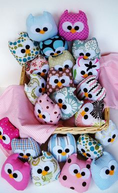 9 lovely blue owls or you can choose any color by LilyRoseCraft