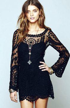 Black Sheer Crochet Lace Dress