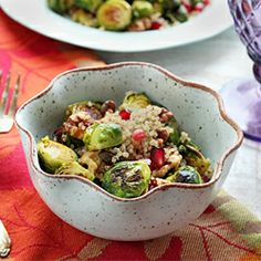 Roasted Brussel Sprout Quinoa Salad - a healthy Thanksgiving side dish
