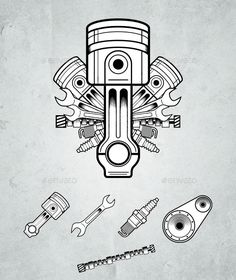 Engine parts — Vector EPS #belt #old • Available here → https://graphicriver.net/item/engine-parts/546995?ref=pxcr