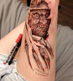 Leg Doodles Jody Steel drawing of Freddy Krueger Movie Tattoos, Key Tattoos, Pin Up Tattoos, Body Art Tattoos, Sleeve Tattoos, Horror Tattoos, Scary Tattoos, Skull Tattoos, Foot Tattoos