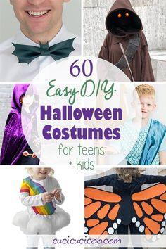 Embrace a handmade lifestyle and have fun with these 60 easy DIY Halloween costumes for teens and kids. Some require basic sewing skills, others just glue skills! Your children of any age will love these simple handmade costumes! Handmade Halloween Costumes, Halloween Costumes For Teens, Halloween Diy, Diy Costumes, Haunted Halloween, Costume Ideas, Cosplay Costumes, Diy Knight Costume, Kids Witch Costume