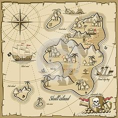 Buy Treasure Island Vector Map In Hand Drawn Style by on GraphicRiver. Treasure island vector map in hand drawn style. Sea adventure, ocean navigation, plan and path parchment, monster and. Treasure Island Map, Treasure Maps, Treasure Chest, Adventure Map, Adventure Of The Seas, Decoration Pirate, Journal D'art, Pirate Maps, Map Quilt
