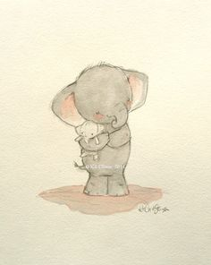 Original Painting 8x10 ELEPHANT LOVE by Kit by trafalgarssquare, $120.00