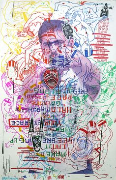 """Brian Kenny, Sage Race (2012) ink and acrylic on vintage American shooting target paper 22.5"""" x 34"""""""