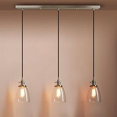 Pathson Industrial Modern Vintage Loft Bar Kitchen Ceiling Pendant Lights Fittings Cluster Chandelier Glass Lampshade Hanging 3 Lights Fixture for Island Living Room Dining Room Bedroom Office (Copper): Amazon.co.uk: Lighting