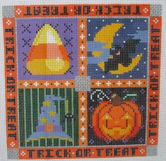 Handpainted Needlepoint Canvas Painted Pony Trick or Treat Halloween PP-885AF #PaintedPony