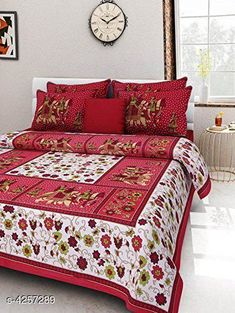 Bedsheets Eva Stylish Cotton Bedsheets  Fabric: Pure Cotton No. Of Pillow Covers: 2 Thread Count: 180 Multipack: Pack Of 1 Sizes:  Queen (Length Size: 100 in Width Size: 90 in Pillow Length Size: 27 in Pillow Width Size: 17 in)  Work : Printed Country of Origin: India Sizes Available: Queen *Proof of Safe Delivery! Click to know on Safety Standards of Delivery Partners- https://ltl.sh/y_nZrAV3  Catalog Rating: ★4 (14880)  Catalog Name: Eva Stylish Pure Cotton 100x90 Double Bedsheets Vol 1 CatalogID_609445 C53-SC1101 Code: 583-4257289-