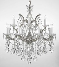 Maria Theresa Chandelier Chandeliers Lighting Trimmed with Austrian Crystal, Grey