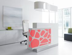 Organic Reception Desk  The design is emphasized by the harmonious white complimented backlighting system of fluorescent light. The final touch is the glass top giving the reception nobility and splendor.