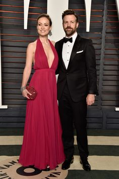 Vanity Fair Party 2016. Jason Sudeikis and Olivia Wilde in a Prabal Gurung dress, Roger Vivier clutch and Neil Lane jewels
