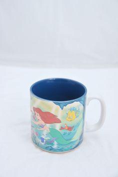 "Vintage Disney Little Mermaid Mug Made in Japan 12 oz  3 1/2"" Tall"