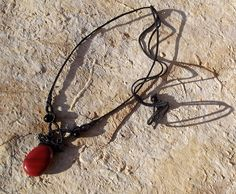 Red jasper macrame necklace