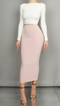 A long sleeved round necked crop top, styled in the photos with our 'Savannah Long Tube Skirt' in Blush Pink. Specially hand made by Boom Boom The Label using h