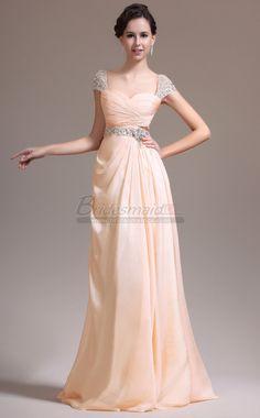 #bridesmaiddresses Pearl Pink Chiffon Long Sweetheart Neckline Bridesmaid Dress with Short Sleeve JT-CA1374