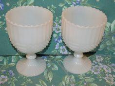 Set of 2 Milk Glass Ribbed Goblet Planter