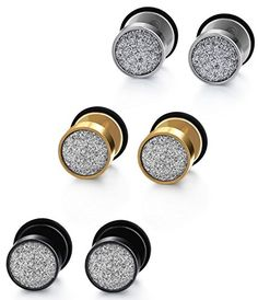 Jstyle Jewelry Stainless Steel Women Stud Earrings for Men Cool Ear Plugs Piercings 18G White Black Yellow. Package: 3 Colors to Choose: with a Black Velvet; Providing Multiple Choices for Daily Wearing. Design:Suitable Size; Sparkling Surface; Exquisitely Crafted; Elaborated Workmanship. Material: Hypoallergenic Stainless Steel; Comfortable Touching Feeling; Nickel and Lead Free. Size: the Diameter of Round Earring Stud is about 8MM; the Bars Have a Length about 7MM. 90-Day Money Back…